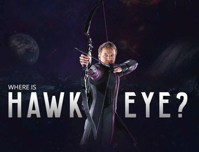 where is HAWK EYE in avengers poster