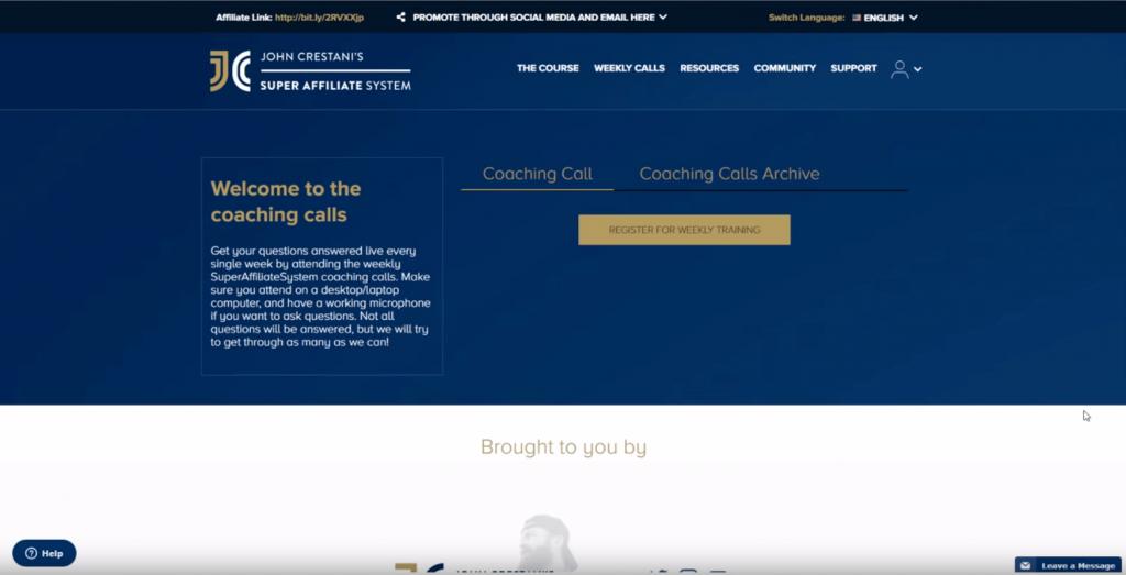 Super Affiliate system Coaching calls to register