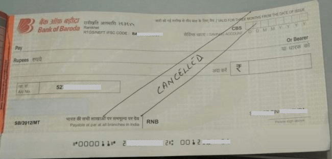 Cancel cheque leaf image