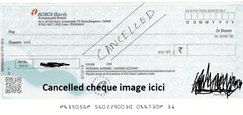 Cancelled cheque image icici